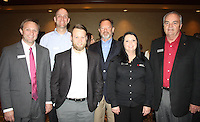 NWA Democrat-Gazette/CARIN SCHOPPMEYER Jacob Hudson (from left), Phil Whitehead, Nick Kennett, Chris Weiser, Heather Rutherford and Jett (cq) Cato of Bank of America attend the corporate luncheon VIP reception.