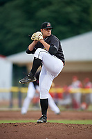 Batavia Muckdogs relief pitcher Bryce Howe (52) delivers a pitch during a game against the Williamsport Crosscutters on June 22, 2018 at Dwyer Stadium in Batavia, New York.  Williamsport defeated Batavia 9-7.  (Mike Janes/Four Seam Images)