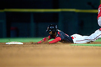Rochester Red Wings Victor Robles (15) slides head first into second base during a game against the Worcester Red Sox on September 4, 2021 at Frontier Field in Rochester, New York.  (Mike Janes/Four Seam Images)