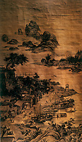 """Chinese Painting:  """"Night Market"""", Qing Dynasty 1736.  Lang Shining (Guiseppe Castiglione) came to China in 1715 as a Jesuit Missionary and stayed at court for 50 years.  He used techniques learned in Portugal."""