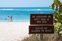 Signs on Zachary Taylor Beach, Key West, Florida