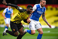 20th March 2021; Vicarage Road, Watford, Hertfordshire, England; English Football League Championship Football, Watford versus Birmingham City; Isaac Success of Watford challenged by Harlee Dean of Birmingham for a through ball