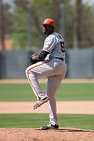 San Francisco Giants relief pitcher Eduardo Rivera (58) during a Minor League Spring Training game against the Oakland Athletics at Lew Wolff Training Complex on March 26, 2018 in Mesa, Arizona. (Zachary Lucy/Four Seam Images)