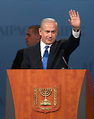 Prime Minister Benjamin Netanyahu of Israel waves to the 13,000 delegates following his speech at the annual American Israel Public Affairs Committee (AIPAC) Policy Conference at the Washington Convention Center in Washington, D.C. on Monday, March 5, 2012..Credit: Ron Sachs / CNP