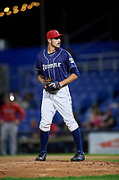 Binghamton Rumble Ponies relief pitcher Stephen Nogosek (10) gets ready to deliver a pitch during a game against the Portland Sea Dogs on August 31, 2018 at NYSEG Stadium in Binghamton, New York.  Portland defeated Binghamton 4-1.  (Mike Janes/Four Seam Images)
