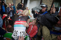 an emotional Stijn Devolder (BEL) finds his family behind the finish line<br /> <br /> Belgian Championchips 2013