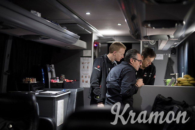 DS Adriano Baffi & trainer Mattias Reck check a route for the support teams for tomorrows race<br /> <br /> preparing for the 108th Milano - Sanremo 2017<br /> (day before the race)