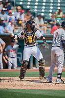 Jose Briceno (14) of the Salt Lake Bees on defense against the Fresno Grizzlies at Smith's Ballpark on September 4, 2017 in Salt Lake City, Utah. Fresno defeated Salt Lake 9-7. (Stephen Smith/Four Seam Images)