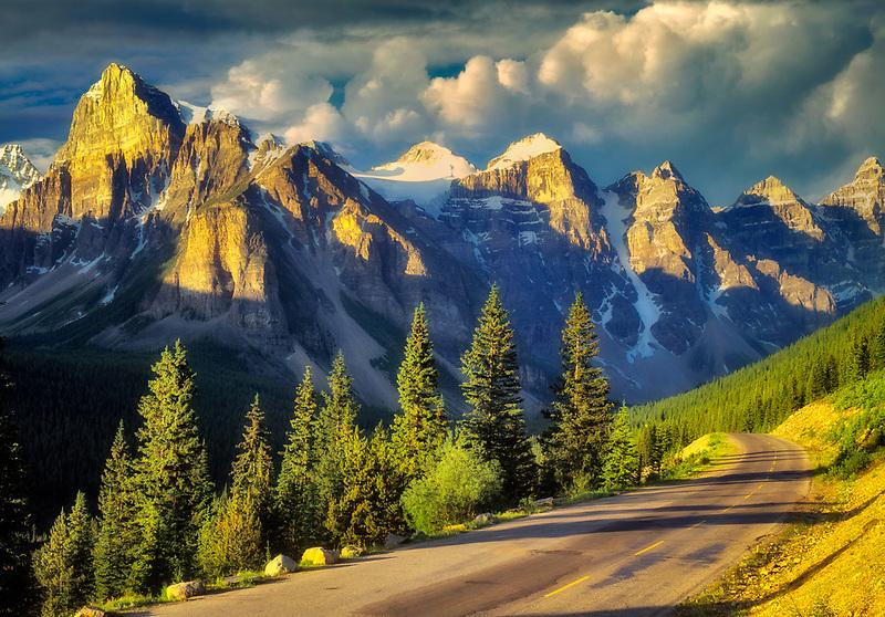 Road in Valley of Ten Peaks. Banff National Park, Canada.