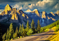 Road in Valley of Ten Peaks. Banff National Park, Canada.