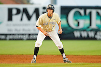 Charlie Morgan #26 of the Wake Forest Demon Deacons takes his lead off of second base against the Miami Hurricanes at NewBridge Bank Park on May 25, 2012 in Winston-Salem, North Carolina.  The Hurricanes defeated the Demon Deacons 6-3.  (Brian Westerholt/Four Seam Images)
