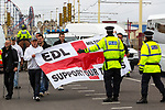 © Joel Goodman - 07973 332324 . 28/05/2011 . Blackpool, UK . About 2,000 people attend an English Defence League demonstration. The EDL say the protest was organised after the failed prosecution of local takeaway owners who they allege are responsible for the disappearance and suspected murder of 14 year old Charlene Downes. Photo credit : Joel Goodman