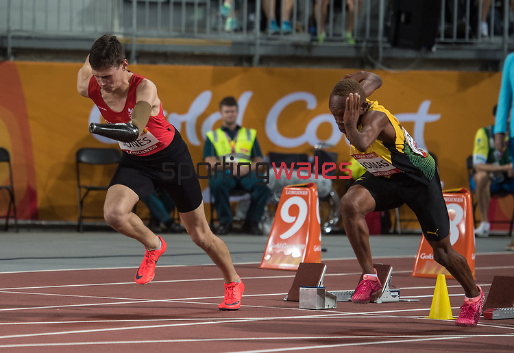 Wales Morgan Jones (para) competes the Men's T47 100m Final<br /> <br /> *This image must be credited to Ian Cook Sportingwales and can only be used in conjunction with this event only*<br /> <br /> 21st Commonwealth Games - Athletics - Day 9 - 13\04\2018 - Carrara Stadium - Gold Coast City - Australia