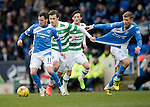 St Johnstone v Celtic…05.02.17     SPFL    McDiarmid Park<br />Danny Swanson gets away from Erik Sviatchenko<br />Picture by Graeme Hart.<br />Copyright Perthshire Picture Agency<br />Tel: 01738 623350  Mobile: 07990 594431