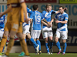 St Johnstone v Motherwell…17.12.16     McDiarmid Park    SPFL<br />Chris Kane celebrates his goal with Brian Easton<br />Picture by Graeme Hart.<br />Copyright Perthshire Picture Agency<br />Tel: 01738 623350  Mobile: 07990 594431