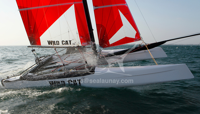 Training session on F18 before the Eurocat 2011, the great catamaran in Carnac, Brittany, France..Andrew MacPherson.Junior.Hobie cat.Wild Cat