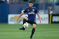CARSON, CA - JUNE 19: Alex Roldan #16 of the Seattle Sounders passes off the ball during a game between Seattle Sounders FC and Los Angeles Galaxy at Dignity Health Sports Park on June 19, 2021 in Carson, California.