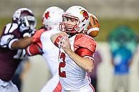 Lamar quarterback Caleb Berry (12) throws a pass during NCAA Football game, Saturday, September 06, 2014 in College Station, Tex. Texas A M defeated Lamar 73-3. (Mo Khursheed/TFV Media via AP Images)