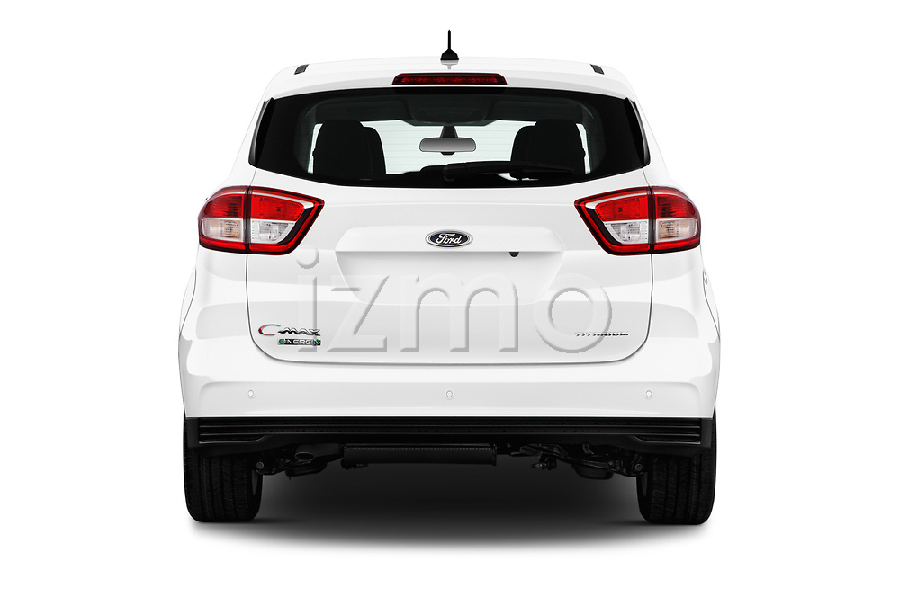 Straight rear view of 2017 Ford C-Max Energi-Titanium 5 Door Mini MPV Rear View  stock images