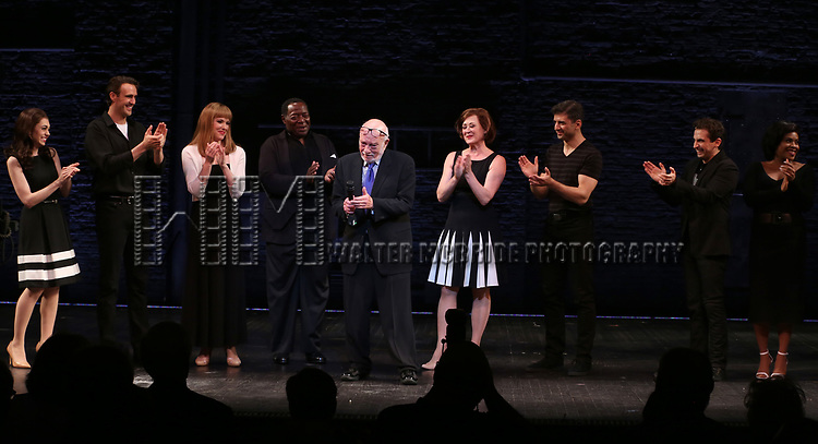 Hal Prince with cast during the Broadway Opening Night performance Curtain Call for 'The Prince of Broadway' at the Samuel J. Friedman Theatre on August 24, 2017 in New York City.