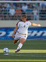 Cat Whitehill kicks the ball downfield. USA defeated Japan 4-1 at Spartan Stadium in San Jose, CA on July 28, 2007.