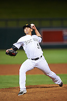 Salt River Rafters pitcher Jerry Vasto (57), of the Colorado Rockies organization, during a game against the Peoria Javelinas on October 11, 2016 at Salt River Fields at Talking Stick in Scottsdale, Arizona.  The game ended in a 7-7 tie after eleven innings.  (Mike Janes/Four Seam Images)