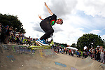 Pix: Shaun Flannery/shaunflanneryphotography.com...COPYRIGHT PICTURE>>SHAUN FLANNERY>01302-570814>>07778315553>>..2nd September 2012..Area 51 2012 Skate Jam..Joe Edwards 'tail whips' out of the bowl at the Sprotbrough skate park.