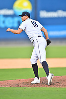 Asheville Tourists pitcher Juan Pablo Lopez (18) delivers a pitch during a game against the Aberdeen IronBirds on June 15, 2021 at McCormick Field in Asheville, NC. (Tony Farlow/Four Seam Images)