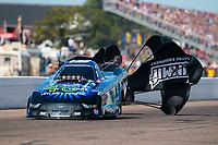 Aug 18, 2019; Brainerd, MN, USA; NHRA funny car driver Tim Wilkerson during the Lucas Oil Nationals at Brainerd International Raceway. Mandatory Credit: Mark J. Rebilas-USA TODAY Sports