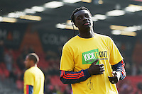 Bafetibis Gomis of Swansea City warms up before the Barclays Premier League match between AFC Bournemouth and Swansea City played at The Vitality Stadium, Bournemouth on March 11th 2016