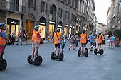 Tourist group on Segway tour of Florence, Italy