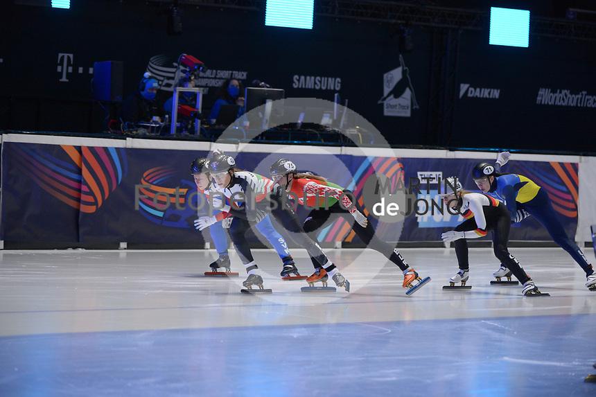 SPEEDSKATING: DORDRECHT: 06-03-2021, ISU World Short Track Speedskating Championships, RF 500m Ladies, Alica Porubska (SVK), Volha Talayeva (BLR), Mariya Dolgopolova (UKR), Katrin Manoilova (BUL), Gina Jacobs (GER), ©photo Martin de Jong
