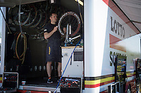 mechanic Steven Van Olmen preparing wheels<br /> <br /> stage 1: Apeldoorn prologue 9.8km<br /> 99th Giro d'Italia 2016