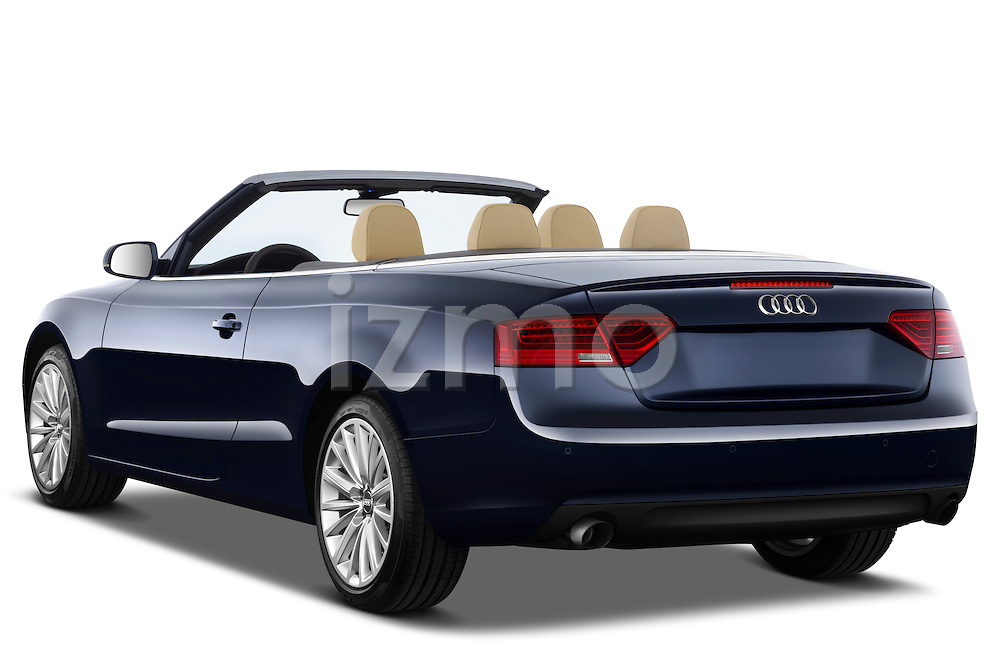 Rear three quarter view of a 2013 Audi A5 Convertible 2013 Audi A5 Convertible with the top down..