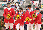 03 October 2010.  Canada wins the silver medal for Team Competition for Eventing.    Kyle Carter, Selena O'Hanlon, Stephanie Rhodes-Bosch and Hawley Bennett-Awad.