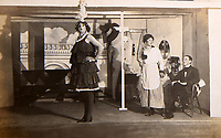 BNPS.co.uk (01202 558833)<br /> Pic: Elstob & Elstob/BNPS<br /> <br /> Pictured: British prisoners of war performing amateur dramatics in a German camp.<br /> <br /> Amazing photos of British PoWs doing amateur dramatics dressed as women in a German camp have emerged 103 years on.<br /> <br /> One officer goes all out in a flapper dress, while others don frocks and make-up in the jovial previously unseen images.<br /> <br /> They took their performances so seriously that they spent up to six hours a day rehearsing.<br /> <br /> The photos were taken by Second Lieutenant Clarence Pickyard, of the 22nd Durham Light Infantry, who was captured in June 1918 during the German Spring Offensive after being shot in the hip on the battlefield.<br /> <br /> He was detained for the remainder of the conflict at Schweidnitz PoW camp in Eastern Germany, writing regularly to his sweetheart Gwen Johnson. His camp photos and love letters are being sold alongside his campaign medals with auctioneers Elstob & Elstob, of Ripon, North Yorks.
