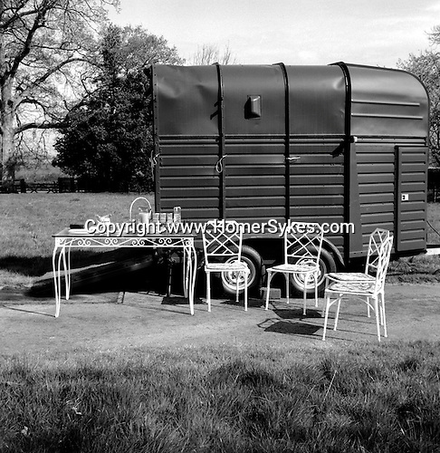 The Quantock Staghounds. The horse box is used to house the refreshments provided for the hunt and hunt followers. Woodlands, Holeford, Somerset..Hunting with Hounds / Mansion Editions (isbn 0-9542233-1-4) copyright Homer Sykes. +44 (0) 20-8542-7083. < www.mansioneditions.com >.