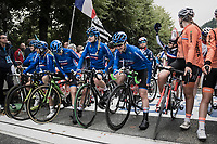 later winner Elena Pirrone (ITA) and her teammates are on the front line at the start of the race<br /> <br /> Women Junior Road Race<br /> <br /> UCI 2017 Road World Championships - Bergen/Norway