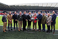 Lee Trundle with match sponsors during the Premier League match between Swansea City and West Bromwich Albion at The Liberty Stadium, Swansea, Wales, UK. Saturday 09 December 2017