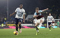 Burnley's Ashley Barnes unleashes a close range effort under pressure from Everton's Yerry Mina<br /> <br /> Photographer Rich Linley/CameraSport<br /> <br /> The Premier League - Burnley v Everton - Wednesday 26th December 2018 - Turf Moor - Burnley<br /> <br /> World Copyright © 2018 CameraSport. All rights reserved. 43 Linden Ave. Countesthorpe. Leicester. England. LE8 5PG - Tel: +44 (0) 116 277 4147 - admin@camerasport.com - www.camerasport.com