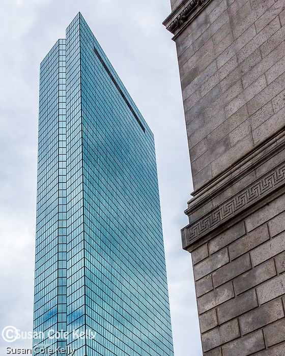 The John Hancock Tower near Copley Square, Boston, Massachusetts, USA