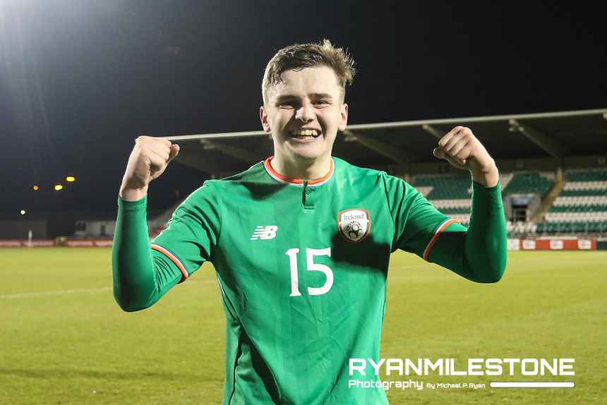 Republic of Ireland's Ronan Hale celebrates at the end of the 2019 UEFA Under 21 European Qualifying Round between the Republic of Ireland and Azerbaijan on Tuesday 27th March 2018 at Tallaght Stadium, Dublin. Photo By Michael P Ryan