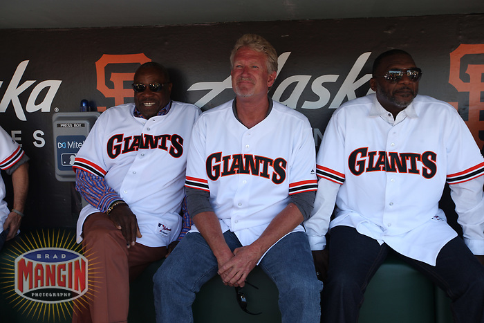 SAN FRANCISCO, CA - AUGUST 11:  Former San Francisco Giants manager Dusty Baker sits in dugout with Kelly Downs and Donell Nixon before a ceremony honoring the 1989 Giants during a 30 year team reunion before the game between the Philadelphia Phillies and San Francisco Giants at Oracle Park on Sunday, August 11, 2019 in San Francisco, California. (Photo by Brad Mangin)