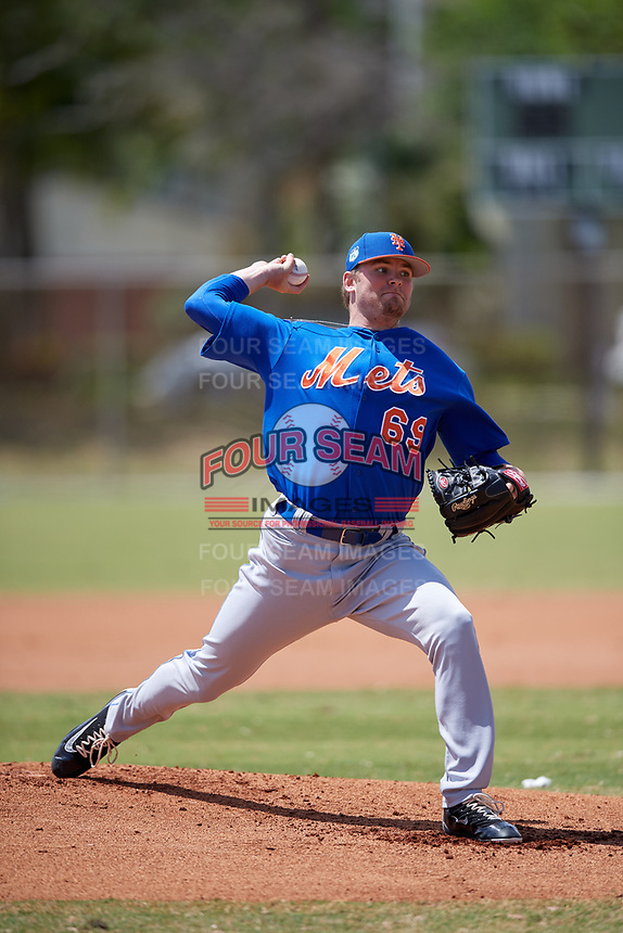 New York Mets Pitcher Thomas McIlraith (69) during a minor league Spring Training game against the Miami Marlins on March 26, 2017 at the Roger Dean Stadium Complex in Jupiter, Florida.  (Mike Janes/Four Seam Images)