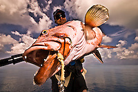 Portraits of fishermen with Groupers