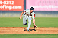 Aberdeen IronBirds shortstop Jordan Westburg (16) reacts to the ball during a game against the Asheville Tourists on June 18, 2021 at McCormick Field in Asheville, NC. (Tony Farlow/Four Seam Images)