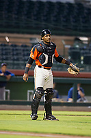 AZL Giants catcher Andres Angulo (1) on defense against the AZL Rangers on September 4, 2017 at Scottsdale Stadium in Scottsdale, Arizona. AZL Giants defeated the AZL Rangers 6-5 to advance to the Arizona League Championship Series. (Zachary Lucy/Four Seam Images)