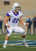 8 October 2016: Amherst College Purple & White Defensive Back John Rak, a Sophomore from Los Altos, CA, in action against the Middlebury College Panthers at Alumni Stadium in Middlebury, Vermont. The Panthers edged out the Purple & While 27-26. Mandatory Credit: Ed Wolfstein Photo *** RAW (NEF) Image File Available ***