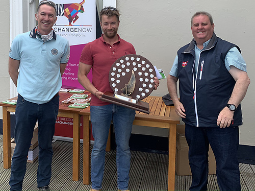 Brendan Foley, MD of sponsor Seachange Now (and third place competitor), Hammy Baker first overall and Richard O'Connor Commodore  of the RstGYC