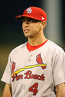 April 13, 2009:  Infielder Jose Garcia (4) of the Palm Beach Cardinals, Florida State League Class-A affiliate of the St. Louis Cardinals, during a game at Hammond Stadium in Fort Myers, FL.  Photo by:  Mike Janes/Four Seam Images